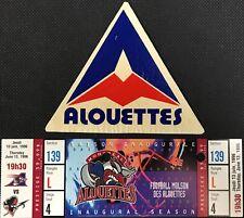 1996 Montreal Alouettes Inaugural Season CFL Football Ticket + Coaster Vintage