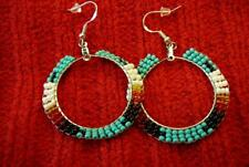 Traditional Beaded Eagle Feather Hoop Sterling Silver Earrings - Native American