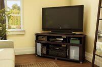 Corner TV Entertainment Stand Brown Style Modern DVD Storage Glass Door Console