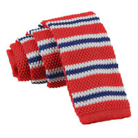 DQT Knit Knitted Thin Stripe Red with Blue White Casual Mens Skinny Tie