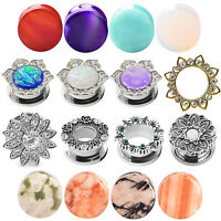 PAIR Ear Gauges Steel & Stone CZ Opal Solid Plugs Flesh Tunnels Earlets Piercing