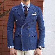 Men's Denim Blazer Jacket Double-breasted Peak Lapel Suits Tailored Fit 38 40 42