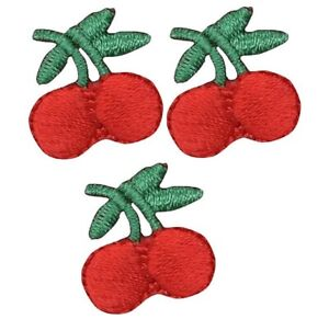 """Mini Cherry Applique Patch - Berry, Sweet Cherries 3/4"""" (3-Pack, Iron on)"""