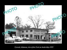 OLD LARGE HISTORIC PHOTO OF CROSSETT ARKANSAS, THE FORD CAR DEALERSHIP c1955