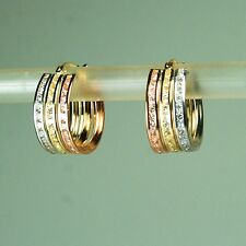 14K solid yellow /white/Rose TriTone gold 0.38 TCW White Topaz earrings 16mm
