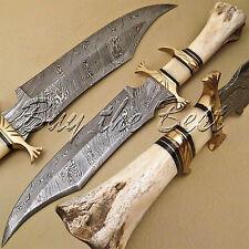 BEAUTIFUL CUSTOM HAND MADE DAMASCUS STEEL HUNTING BOWIE KNIFE HANDLE CAMEL BONE