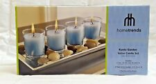 Hometrends Kyoto Garden 4 votive candle set with Silver tray and rocks NEW