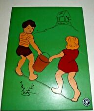 Judy wood puzzle Jig Saw Jack And Jill pc 17 Tray 1950'S Nursery Rhymes