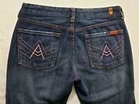 7 for All Mankind A Pocket Womens Denim Blue Jeans Size 30 x 32 Boot Cut Dark