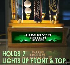 LED 2 way LIGHTED Personalized IRISH PUB Shamrock 7  beer tap handle display