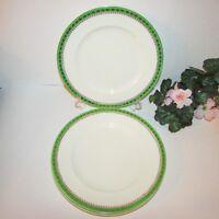 """ALFRED MEAKIN DINNER PLATE SET 4 GREEN BAND GOLD DESIGN 9 3/4"""" VINTAGE ENGLAND"""