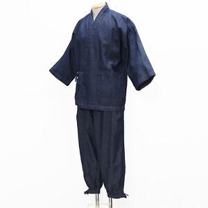 Relax home wear Denim blue Japanese  SAMUE--Men`s Traditional   COTTON  100%