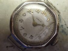 Art Deco British Sterling Silver Watch Working Crystal Nds Service/Replaced L#26