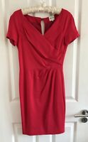 Reiss Shift Dress UK Size 6 8 Pink Red Wrap Effect Formal Womens