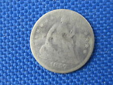 1857 U.S SEATED LIBERTY SILVER HALF DIME 5 CENT COIN