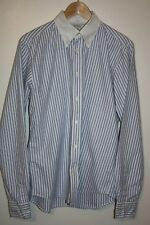 GANT NEWHAVEN MENS BUTCHER BLUE STRIPE SHIRT WITH WHITE COLLAR VINTAGE SIZE M