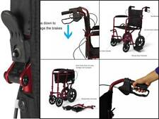 WIDE SEAT Transport Wheelchair Lightweight Drive Folding HAND BRAKES FOR SAFETY