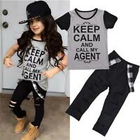 2PCS Toddler Kids Baby Girls Outfit T-shirt Tops+Long Pants Trousers Clothes Set
