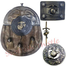 TE Scottish Kilt Sporran Leather Seal Skin US Marine Buckle,Pin & Brooch Antique