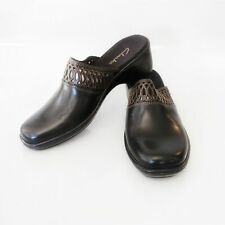 Clarks Slip On Mules Clogs Black Leather Size 9 88019