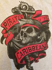 Disney Parks Boys Gray Pirate of the Caribbean Hanes T-Shirt Size Small w/Anchor
