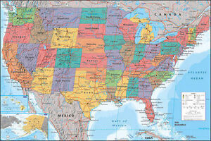 MAP OF THE UNITED STATES POSTER - 24x36 SHRINK WRAPPED - USA AMERICA 33838