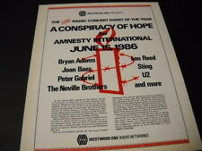 AMNESTY INTERNATIONAL 1986 PROMO POSTER AD Neville Brothers STING Lou Reed U2