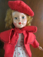 """13 14"""" Doll Coat & Beret Vintage Outfit, Handmade, Red Wool Black Stitching, Euc"""