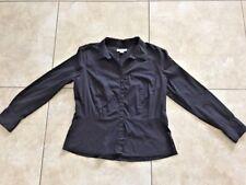 Liz Claiborne Women's Long Sleeve Black Button Front Shirt Size XL