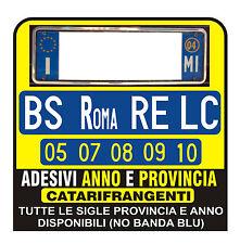 ADESIVI Targa AUTO ANNO E PROVINCIA RIFRANGENTI - PER CONCESSIONARIA AUTO