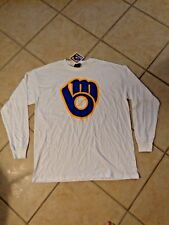 MLB Milwaukee Brewers Cooperstown Long Sleeve T-Shirt Old School Majestic ( L )