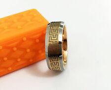 IP Rosegold Pattern Heavy Tungsten Men/Lady Ring Width 8mm, inside dia 20.3mm