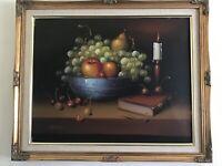 Vintage Gilt framed original signed oil painting on canvas Still life