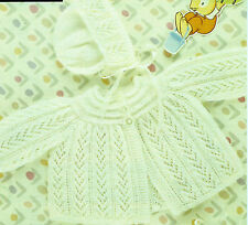 "#54 baby girl 3ply manteau bonnet & bootees 18-19"" 46-48cm vintage knitting pattern"