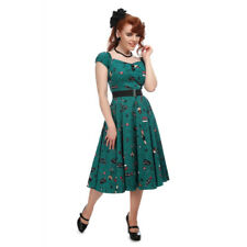 Collectif Vintage Teal Dolores Vegas Vamp Doll Swing Dress Sz 8-22 1950s