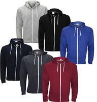 New Plain Mens American Fleece Zip Up Hoody Jacket Sweatshirt Hooded Zipper Top.