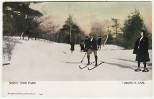 SKIING IN HIGH PARK - Toronto - Canada - c1900s era postcard