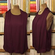 OTHER STORIES aubergine purple viscose draped top blouse shirt UK 12 /EU 38 US 8