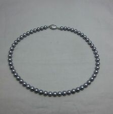 """Japanese Cultured Akoya Pearl Off Brand Silver Gray Strand Necklace 7.5mm 16.5"""""""