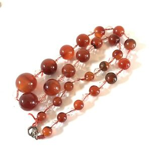 Antique Art Deco Sterling Silver and Carnelian Bead Necklace #6