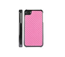 Rosa de fibra de carbono oscuro cromo nuevo caso cubierta de piel para iPhone 4 4S