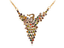 Multicolored Crystal Rhinestone Adorned Golden Peacock Chain Necklace Jewelry