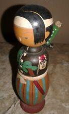 Vintage Samurai Japanese Wood KOKESHI Nodder Doll