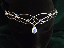 Moonstone Circlet Elven Headpiece Medieval Headdress Wedding Tiara