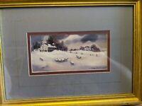 BRENDA HARRIS TUSTIAN PRINT GOLD PICTURE FRAME ANTIQUE FARM HOUSE SHEEP BARN VTG