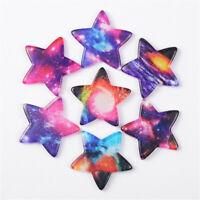 33mm Random Resin Stars Cabochons Starry Sky Printed 10 pcs Craft Decorations