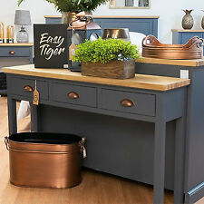 Wooden Three Drawer Side Table Console End Slate Blue Industrial Home Furniture