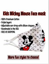 KIDS Face Mask Disney Mickey Mouse Washable Reusable Triple Layer Ready To Ship