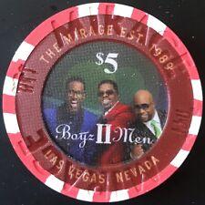 $5 The Mirage Casino Chip - Boyz II Men - Poker, Blackjack, Roulette - Las Vegas