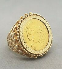 22ct 1907 Half Sovereign St George Coin set in 9ct yellow Gold Ring Preloved